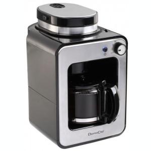 Filtru de cafea cu rasnita integrata DomoClip DOD135, Filtru permanent, Cana 0.6 l, Plita pentru pastrare cafea calda, oprire automata (Argintiu)