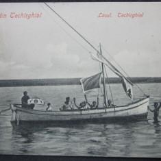 SV * Romania  SALUTARI DIN TECHIRGHIOL  *  Ambarcatiune pe Lac  *  1910, Circulata, Fotografie, Printata
