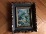 Tablou,litografie franceza,scena renascentista,rama din lemn
