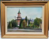 Tablou Vasile Stratulat Peisaj Iași Biserica Nicolae Domnesc ulei panza 52x67cm, Peisaje, Realism