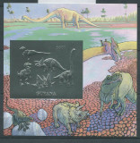 GUYANA 1993 ANIMALE PREISTORICE DINOZAURI SILVER FOIL MICHEL 50 EURO, Nestampilat