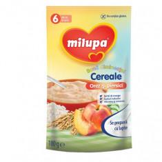 Cereale copii MILUPA Buna dimineata fara lapte orez si piersici 180g de la 6 luni