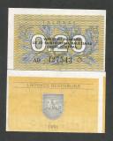 LITUANIA   0.20  TALONAS  1991  UNC  [1]  P- 30  ,  necirculata