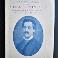 Brosura veche: Comemorarea lui Mihai Eminescu - Ateneul Roman, Bucuresti 1940