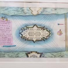 CETATEA ORSOVA - GRAVURA COLORATA, 1738