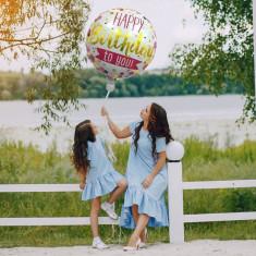 Balon folie Happy Birthday, forma rotunda 45 cm, aer sau heliu