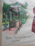 Desen de scenografie pentru teatru - personaje, Scene gen, Acuarela, Realism