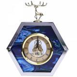 Ceas decorativ, de masa, stil modern, albastru cu argintiu, 22 x 16 cm
