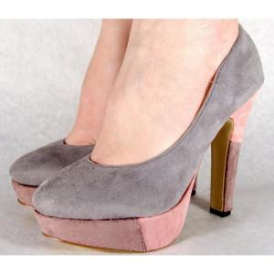 Pantofi gri casual pumps dama/femei cu toc (cod HA-015)
