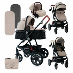 Carucior Set, Lora, cos auto inclus, Beige & Black Dots