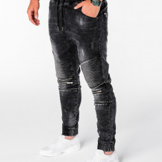 Blugi pentru barbati negru cu siret rosu model genunchi elastici slim fit P677