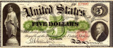 5 dolari 1862 Reproducere Bancnota USD , Dimensiune reala 1:1