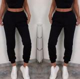 Pantaloni dama lungi de tip jogger din bumbac negri cu elastic si buzunare