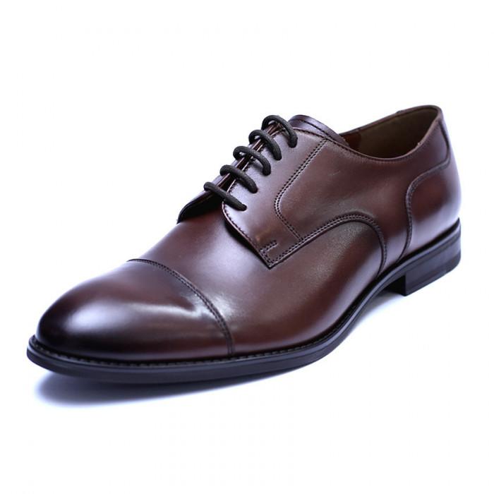 Pantofi barbati din piele naturala, Marlon, ANNA CORI, Maro inchis, 39 EU