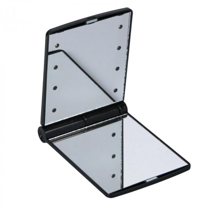 Mini oglinda dubla cu lumina, 8 x LED, pliabila, Negru