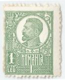 România, LP 72/1922, Ferdinand - uzuale, 1 leu, hârtie albă, eroare, MNH, Nestampilat