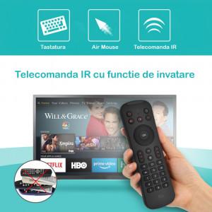 Mini tastatura wireless si telecomanda Smart TV, Xbox, PS4, Airmouse 3D 6 axe, Rii MX6