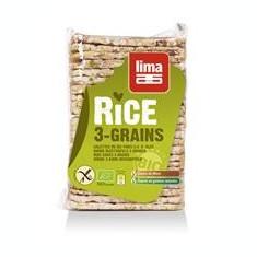 Rondele de Orez Expandate cu 3 Cereale Bio Lima 130gr Cod: 5411788044301