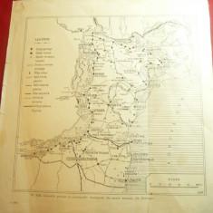 Harta Dobrogei Antice ,dim 22,5x23,5cm -Colonii Grecesti ,Descoperiri Epoca Roma