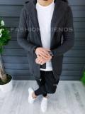 Cardigan barbati gri inchis cu gluga slim fit ZR T3516
