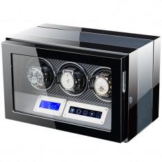Cutie pentru intors ceasuri automatice iUni, Luxury Watch Winder 3 Carbon