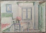 Scena de interior// creioane colorate pe hartie, Borsec, perioada interbelica, Istorice, Acuarela, Altul