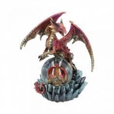 Statueta dragon cu glob Oracolul de Rubin 19 cm