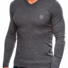 Bluza pentru barbati, din bumbac, gri inchis, casual slim fit - E74