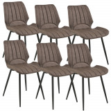 [en.casa]® Set sase bucati scaune tapitate design Pohorje, 77 x 57,5 x 46 cm, poliuretan imitatie piele/metal, maro inchis HausGarden Leisure, [en.casa]