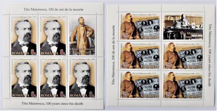 ROMANIA 2017 - Titu Maiorescu 100 ani - Minicoli de 5 timbre MNH - LP 2150 b