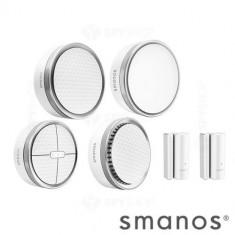 Kit sistem de alarma wireless. DIY Smanos K1, include: hub, 1 sirena interior, 2 senzor fereastra, 1 detector miscare, 1 tastatura