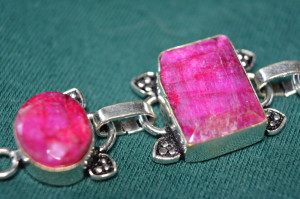 Bratara argint filled pietre veritabile Kashmir Rubine handmade India