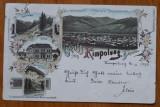 Campulung , Bucovina , Ilustrata cromo , clasica , circulata la Hatna , 1898