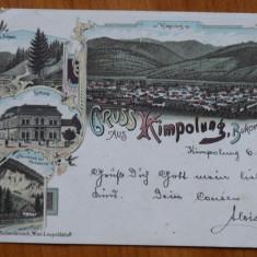 Campulung , Bucovina , Ilustrata cromo , clasica , circulata la Zlatna , 1898, Printata