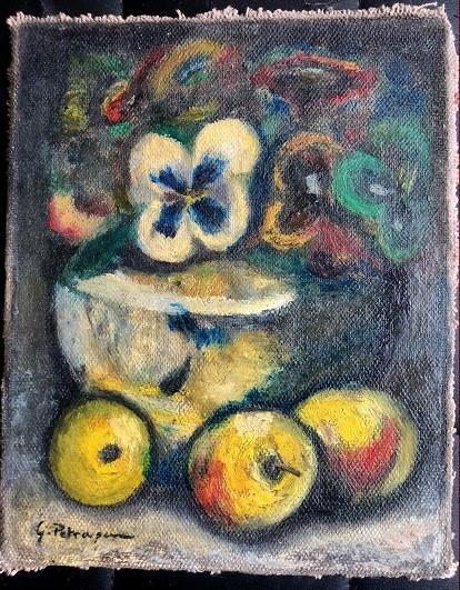 Natura statica cu flori si mere - semnat G. Petrascu