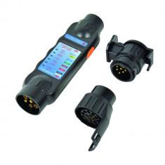 Tester cu led Carpoint pentru lumini remorca 12V cu 7 pini fisa si priza, cu 2 adaptori pentru fisa de 13 pini