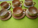 Ceramica frantuzeasca LA POTERIE PROVENCE FRANCE, superb set de cesti de cafea