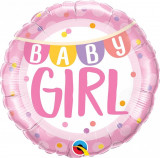 Balon Folie 45 cm Baby Girl Banner & Dots, Qualatex 85851
