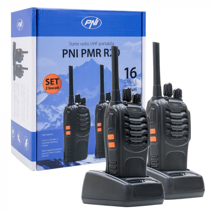 Resigilat : Statie radio UHF portabila PNI PMR R20 set cu 2 buc, Scan, TOT, acumul