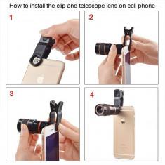 Telescop Lentila Optica Zoom 12x Pentru Telefon Mobil sau Tableta Monocular Universal Compatibil