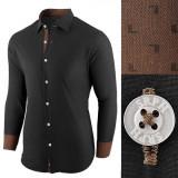Camasa pentru barbati negru regular fit casual cu guler Business Class Ultra