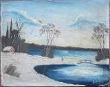 Peisaj de iarna - semnat  Ilonuta, Peisaje, Ulei, Altul