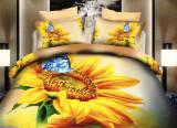 Lenjerie de pat dublu bumbac Print 3D Sunflowers