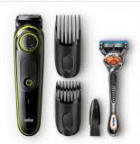 Aparat de tuns barba si parul Braun BT3041, 39 setari de lungime, 2 piepteni, aparat de ras Gillette Flexball, Acumulator, Negru