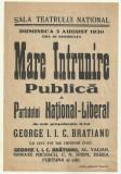 Afis electoral : MARE INTRUNIRE PUBLICA A PNL - Gh.Bratianu, 3 august 1930