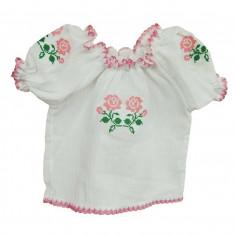 Bluza tip ie pentru fetite, cu model traditional roz