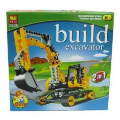 JOC CONSTRUCTIE TIP LEGO,COMPATIBIL 100%,EXCAVATOR SI BULDOZER 2in1,UN CADOU WAW