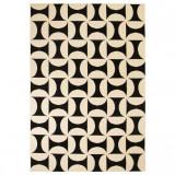 Covor modern, design geometric, 80 x 150 cm, bej/negru