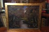 """Tablou M. PÂRGARIU """"Toamnă cu pădure și râu"""" (ulei pe pânză, 57x45cm.), Natura, Realism"""