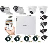 Cumpara ieftin Kit supraveghere video mixt 4 camere 2 Hikvision exterior 20m IR si 2 interior Rovision, accesorii incluse